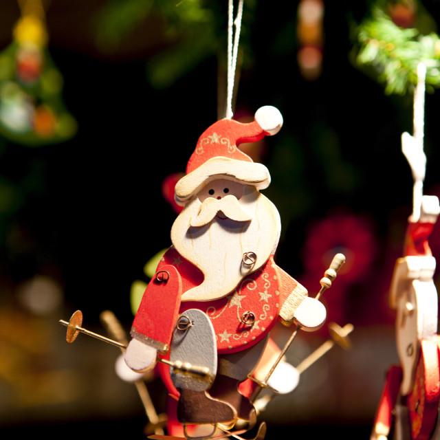 """Father Christmas Santa Claus tree ornament at Christmas market, Winter..."" stock image"