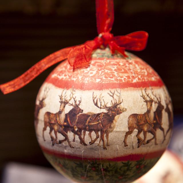 """Christmas tree bauble snow scene at Christmas market, Winter Wonderland, in..."" stock image"