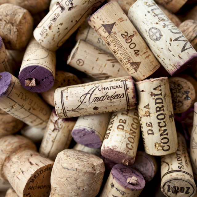 """Corks from wine bottles from Spain and France"" stock image"