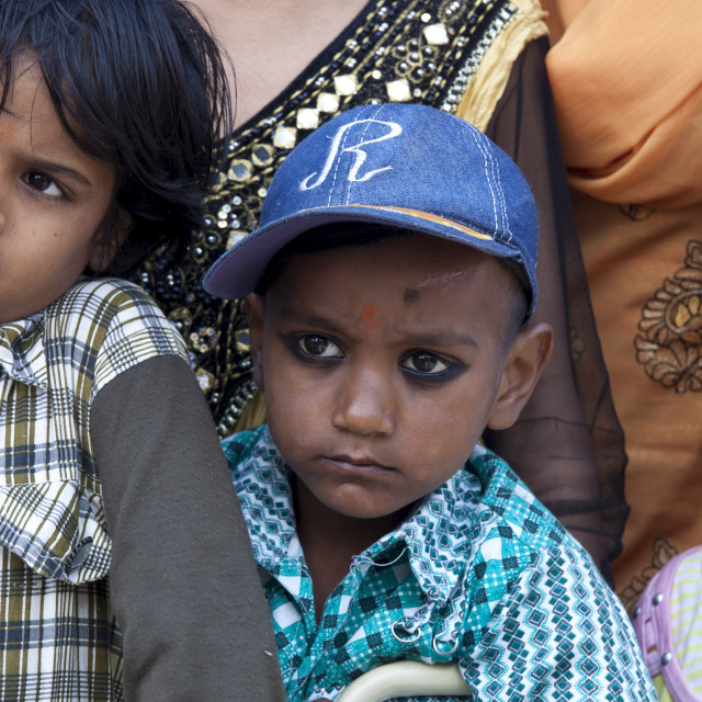 """""""Indian children in back of truck at Mehrauli, New Delhi, India"""" stock image"""