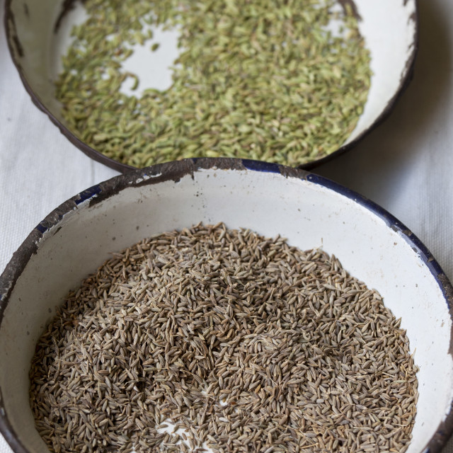 """""""Anise and Cumin on sale at Old Delhi Khari Baoli Spice and Dried Foods..."""" stock image"""