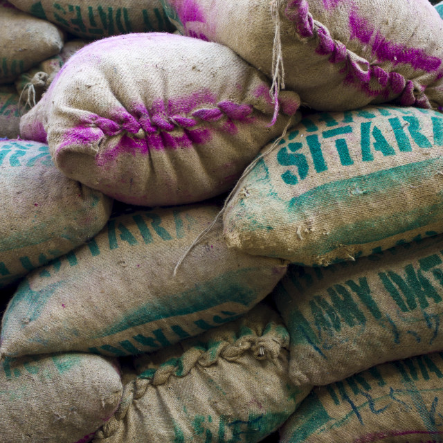"""Sacks of dates at Khari Baoli Spice and Dried Foods Market in Old Delhi, India"" stock image"