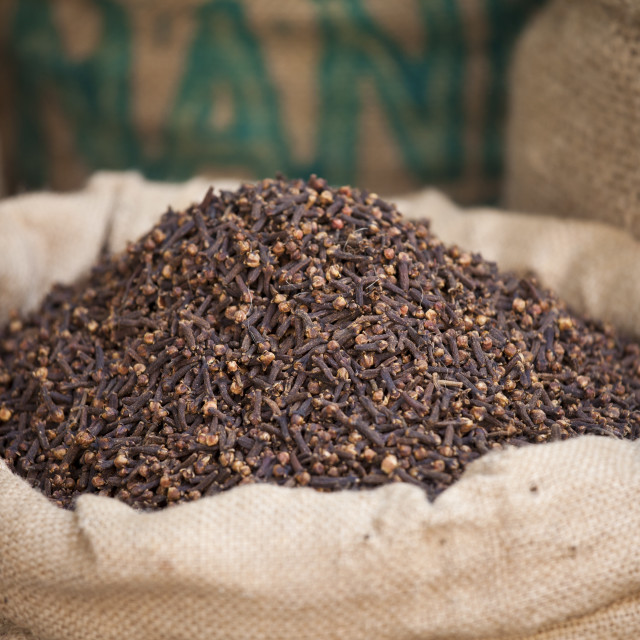 """""""Sacks of dried cloves at Khari Baoli Spice and Dried Foods Market in Old..."""" stock image"""