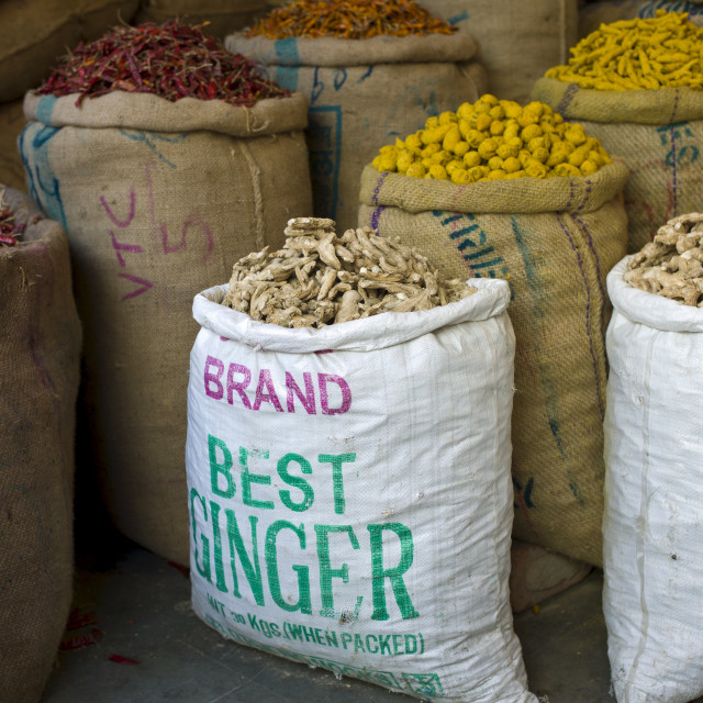 """""""Red chillies, turmeric and ginger root on sale at Khari Baoli spice and dried..."""" stock image"""