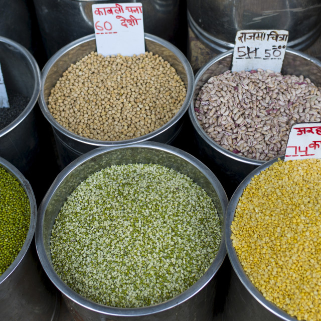 """""""Beans and pulses on sale at Khari Baoli spice and dried foods market, Old..."""" stock image"""
