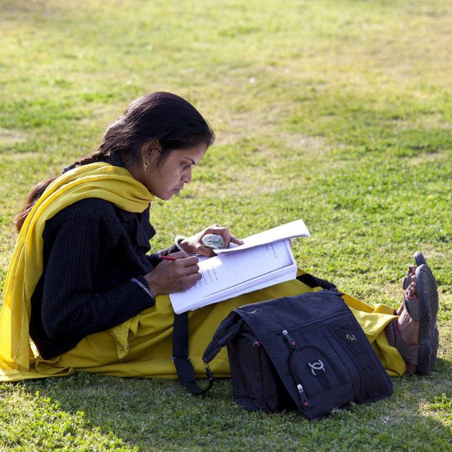 """""""Indian woman student at Delhi University in former Viceroy's Residence, India"""" stock image"""
