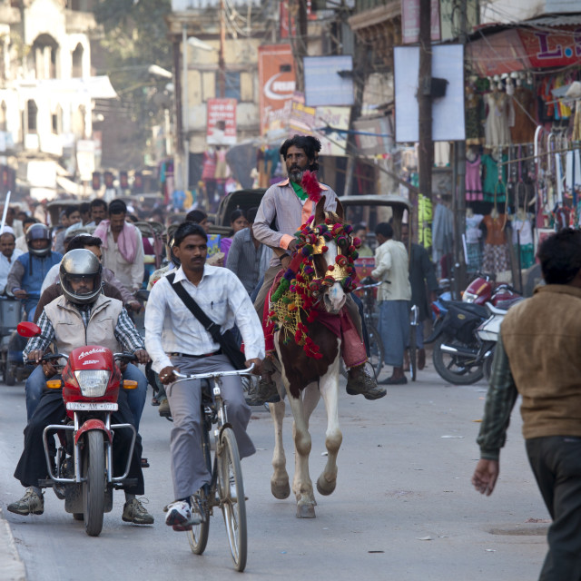 """Busy street scene in holy city of Varanasi, Benares, Northern India"" stock image"
