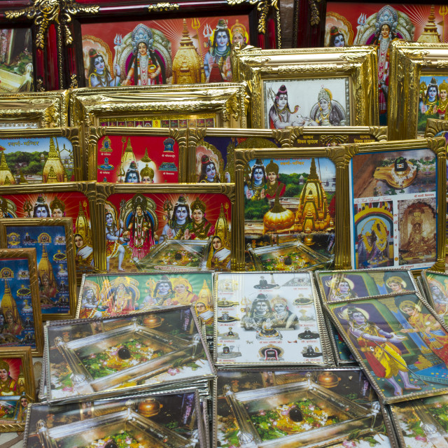 """Religious pictures of Lord Shiva and wife Parwati on sale at stall by the..."" stock image"