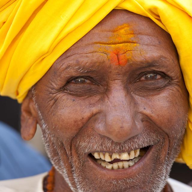 """Indian Hindu man in the city of Varanasi, Benares, Northern India"" stock image"