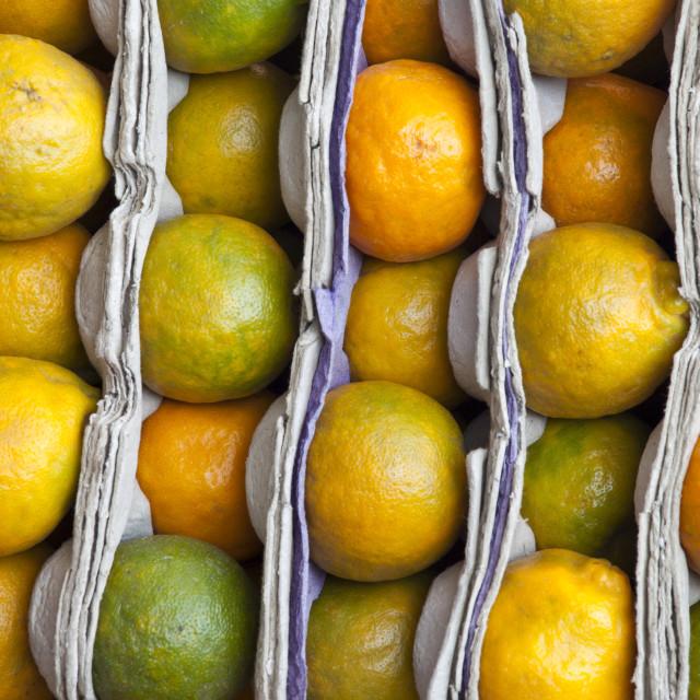 """Fresh oranges on sale at market stall in Varanasi, Benares, India"" stock image"