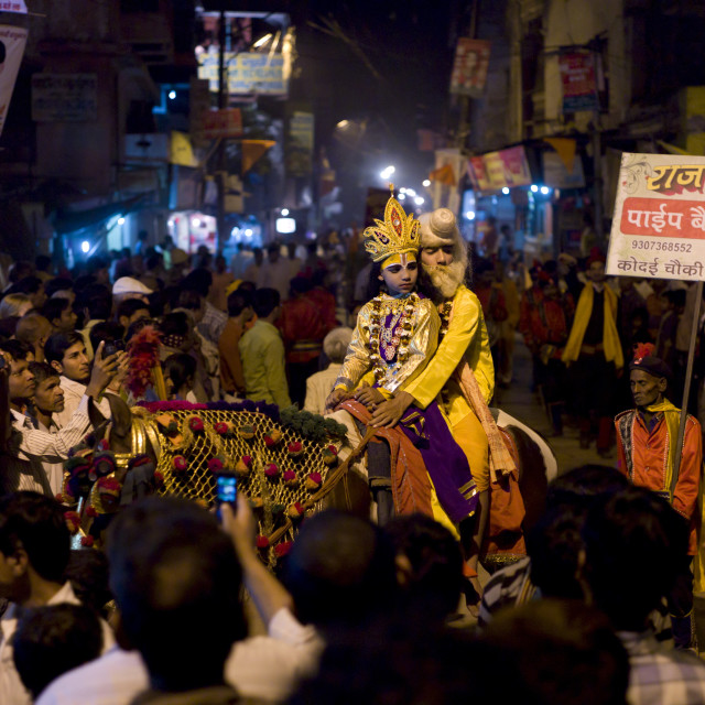 """Lord Shiva and Parwati characters ride through crowd at Festival of..."" stock image"