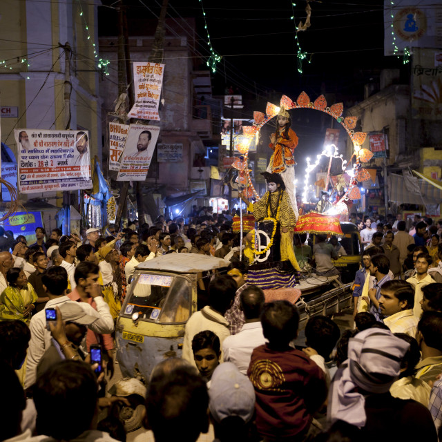 """Lord Shiva and Parwati characters parade through crowd at Festival of..."" stock image"