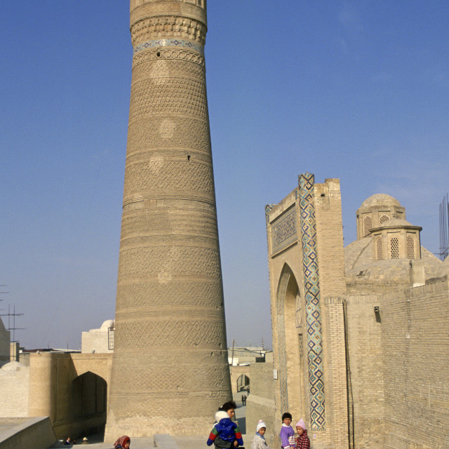 """The Kalyan Minaret at Bukhara, Uzbekistan"" stock image"
