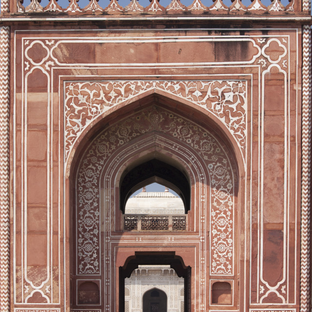 """""""Sandstone and marble gateway to 17th Century Tomb of Etimad Ud Doulah, 17th..."""" stock image"""