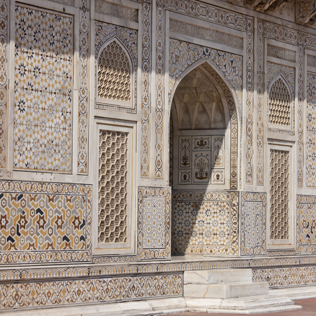 """""""Tomb of Etimad Ud Doulah, 17th Century Mughal tomb built 1628, Agra, India"""" stock image"""