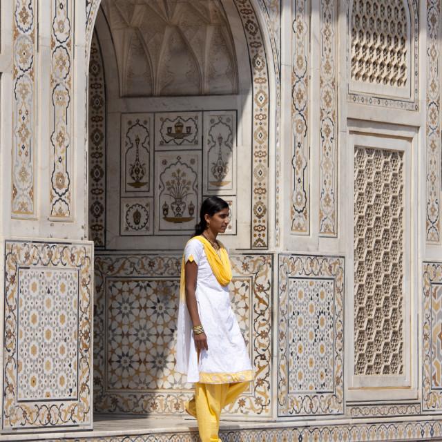 """Muslim Punjabi girl at Tomb of Etimad Ud Doulah, 17th Century Mughal tomb..."" stock image"