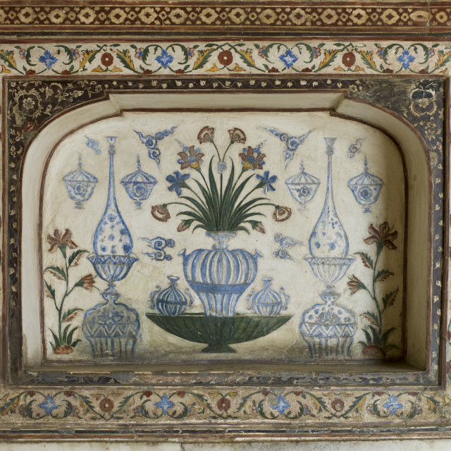 """""""Pietra Dura stone and jewel inlay cut in marble frescoes at Tomb of Etimad Ud..."""" stock image"""