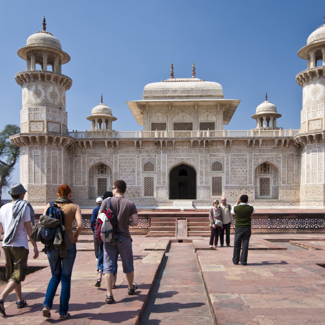 """Tourists visit Tomb of Etimad Ud Doulah, 17th Century Mughal tomb built 1628,..."" stock image"