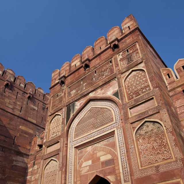 """Amar Singh Gate of Agra Fort, 17th Century residence of Great Mughals and..."" stock image"