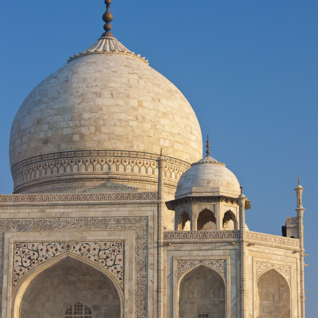 """""""Iwans of The Taj Mahal mausoleum, western view detail diamond facets with bas..."""" stock image"""