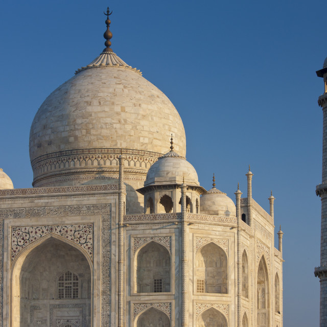 """""""Iwans of The Taj Mahal mausoleum, southern view detail diamond facets with..."""" stock image"""