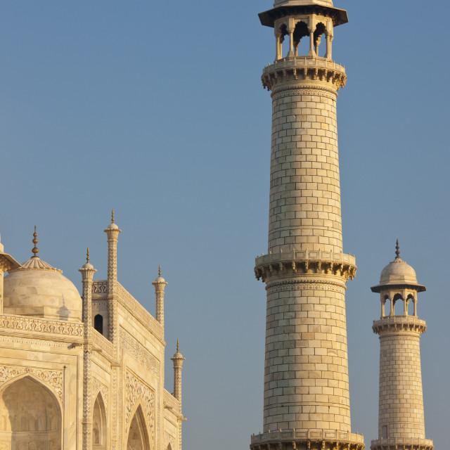 """The Taj Mahal mausoleum eastern view detail, Uttar Pradesh, India"" stock image"