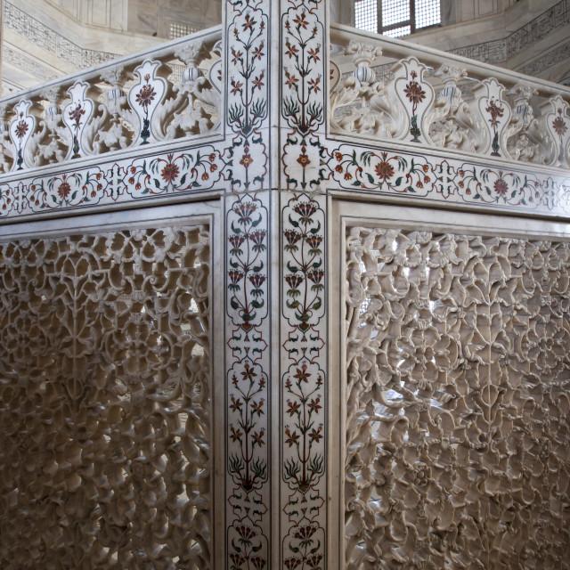 """The Taj Mahal mausoleum marble tombs of Shah Jahan and Mumtaz Mahal , Uttar..."" stock image"