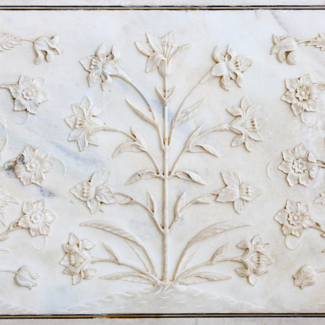 """The Taj Mahal mausoleum interior by tombs of Shah Jahan and Mumtaz Mahal ,..."" stock image"