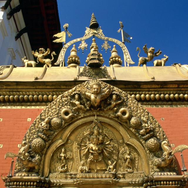 """Ornate carvings on Golden Gate in Bhaktapur, Nepal"" stock image"