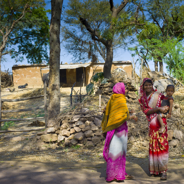 """""""Indian villagers near Ranthambore in Rajasthan, Northern India"""" stock image"""