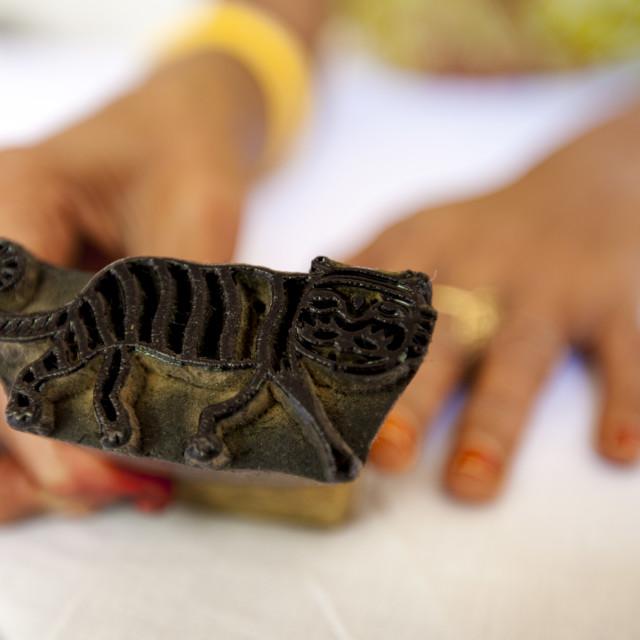 """Indian tiger motif handblock printing at Dastkar women's craft co-operative,..."" stock image"