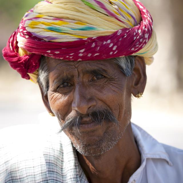 """""""Indian man wears traditional Rajasthani turban in Jaipur, Rajasthan, Northern..."""" stock image"""