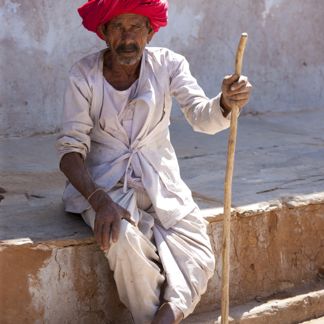 """""""Indian man wearing traditional clothing and Rajasthani turban in village of..."""" stock image"""