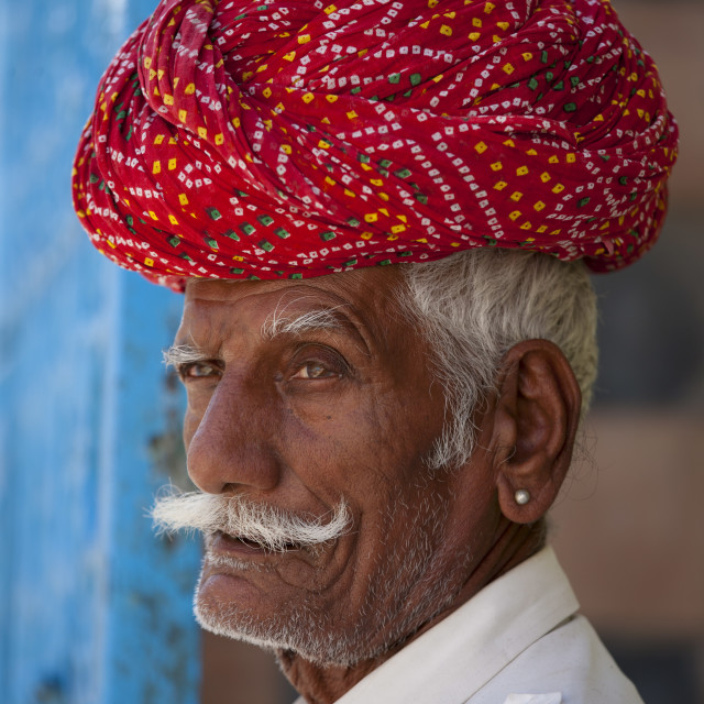 """Indian man with traditional Rajasthani turban in Narlai village in Rajasthan,..."" stock image"
