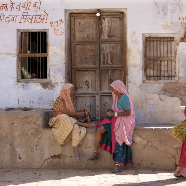 """""""Indian local women in Narlai village in Rajasthan, Northern India"""" stock image"""