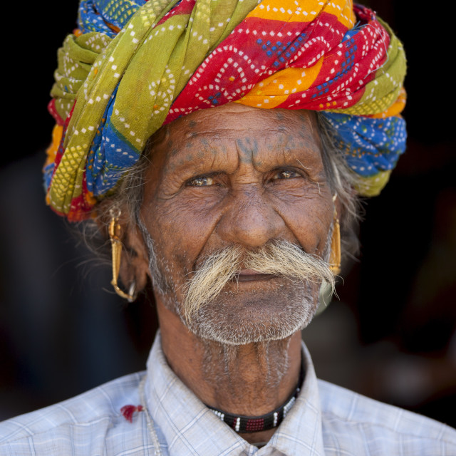 """Indian man wearing traditional Rajasthani turban in Sadri town in Pali..."" stock image"
