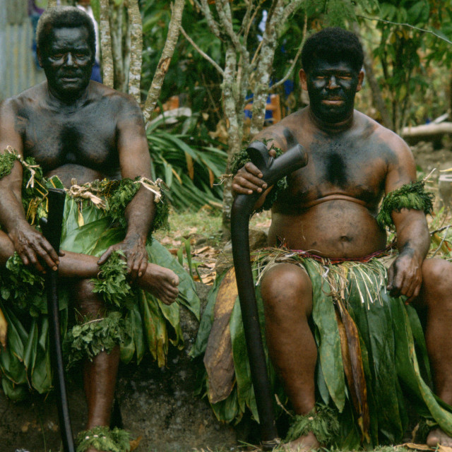 """""""Traditional Fijian Warrior Guards wearing grass skirts and face paints, Fiji,..."""" stock image"""