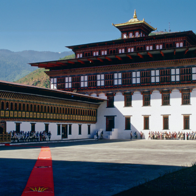 """Tashichho Dzong , home of Government, Royal Palace and religious centre,..."" stock image"