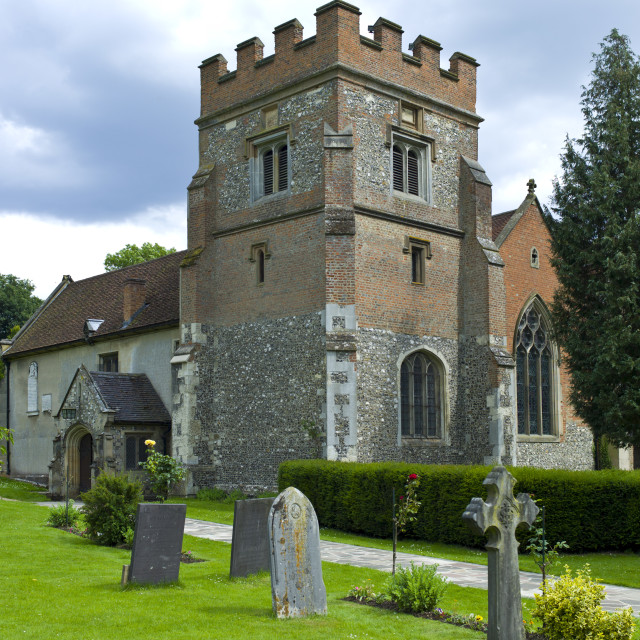 """""""The Church of St Mary the Virgin and graveyard in Harefield, Middlesex, UK"""" stock image"""