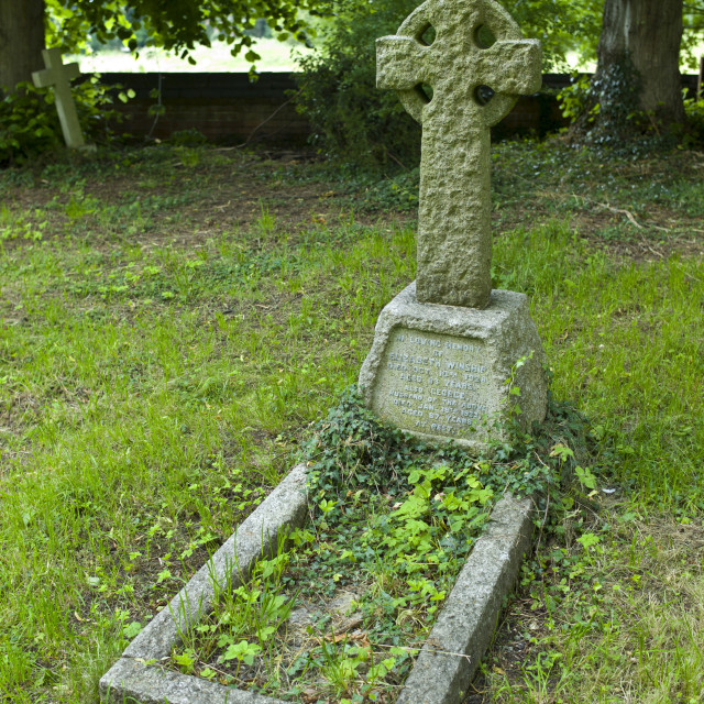 """Celtic cross on grave for Elizabeth and George Winship in graveyard of St..."" stock image"
