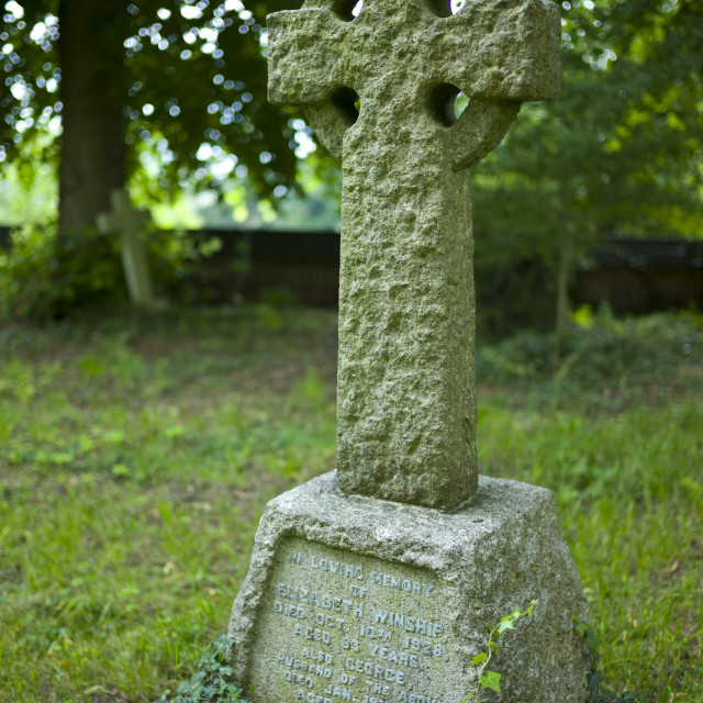 """Celtic cross grave for Elizabeth and George Winship in graveyard of St Mary..."" stock image"