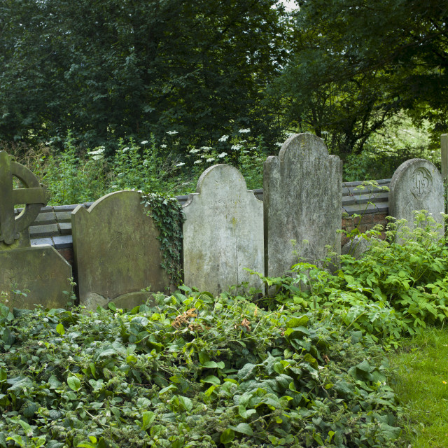 """Headstones in graveyard of St Mary the Virgin Church, Harefield, Middlesex, UK"" stock image"