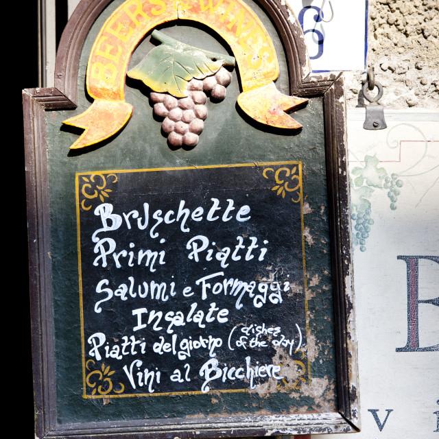 """""""Chalk board restaurant menu of La Bottega di Giovannino with local..."""" stock image"""