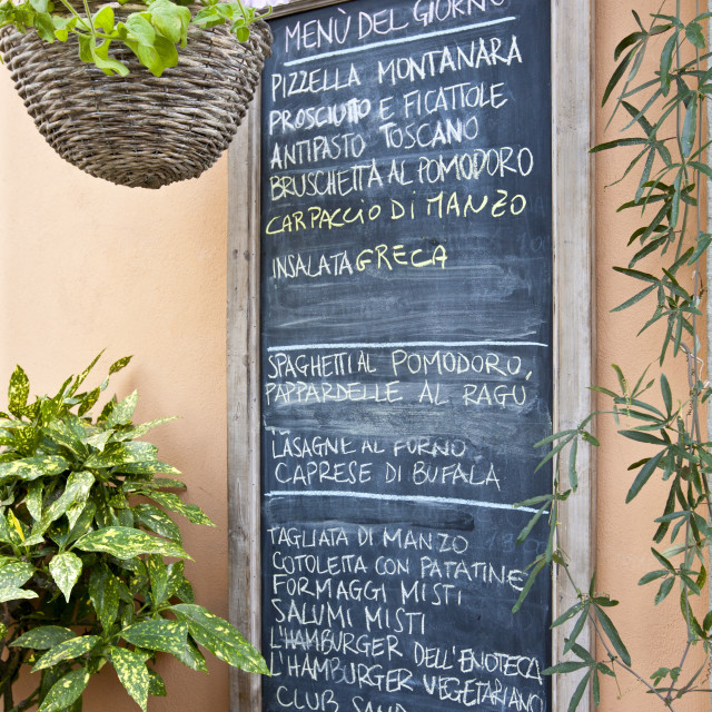 """Chalkboard menu for restaurant Enoteca Baldi in Piazza Bucciarelli,..."" stock image"