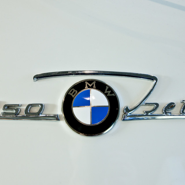 """BMW 250 Isetta badge on bubble car at the BMW Factory and Headquarters in..."" stock image"