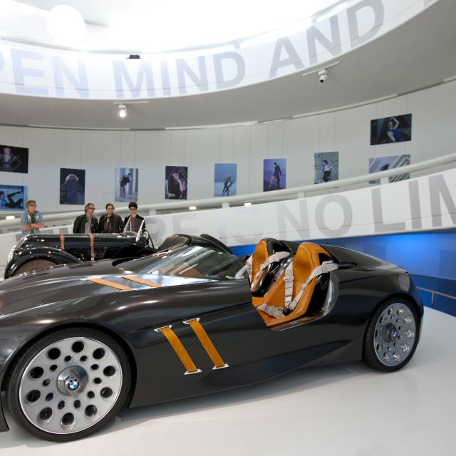 """BMW concept sports car on display at the BMW Museum and Headquarters in..."" stock image"