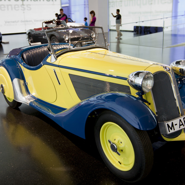 """BMW 315 1934 model car on display at the BMW Museum and Headquarters in..."" stock image"
