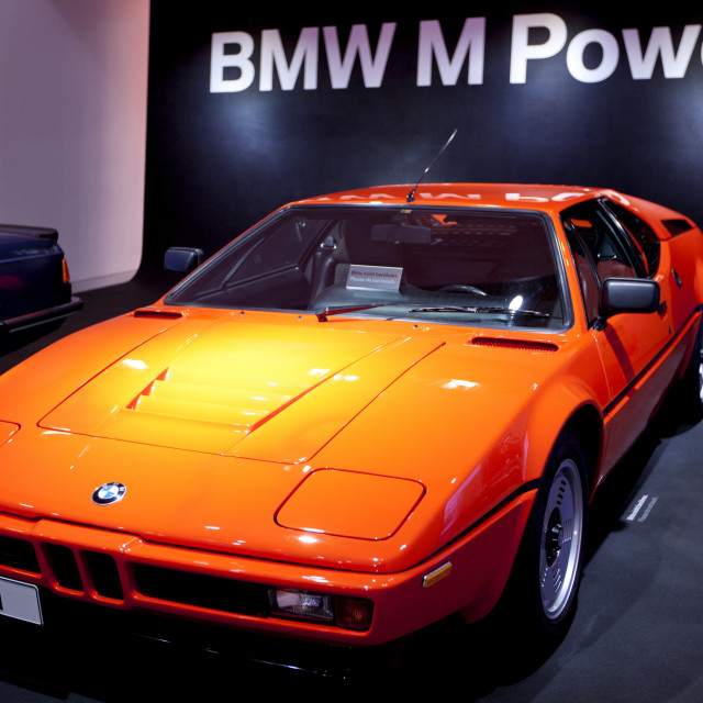 """BMW M1 sports car on display at the BMW Museum and Headquarters in Munich,..."" stock image"