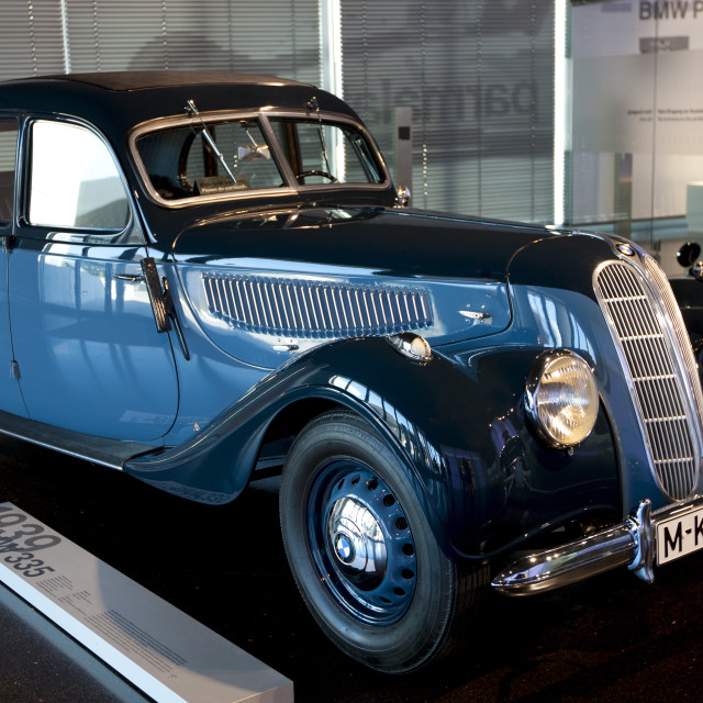 """BMW 335 1939 model car on display at the BMW Museum and Headquarters in..."" stock image"