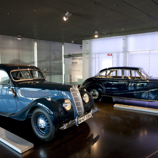 """BMW 1939 335 model car on display at the BMW Museum and Headquarters in..."" stock image"
